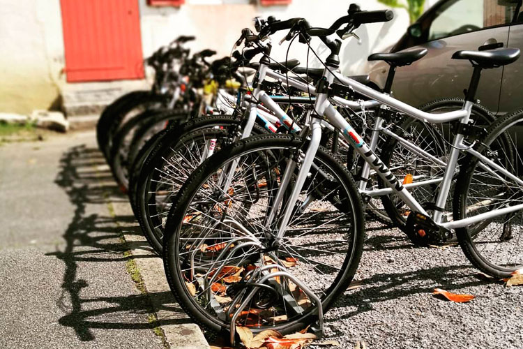 bicycle rack with bikes